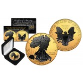 2017 American Silver 1 oz Eagle U.S. Coin in full Genuine 24K Gold and Black Ruthenium Highlights with Box