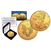 2017 Genuine 1 oz .999 Fine Silver American Eagle U.S. Coin * Full 24KT Gold Plated * with Deluxe Felt Display Box
