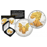 2016 American Silver Eagle Uncirculated 1 oz. One Ounce U.S. Coin with SELECT 24KT Gold Gilded Highlights on Both Sides (with BOX)