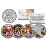 MICHELANGELO SISTINE CHAPEL - Colorized JFK Kennedy Half Dollar U.S. 4-Coin Set