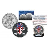 SKULL Genuine Legal Tender JFK Kennedy Half Dollar U.S. Coin - U.S. Flag Crossbones