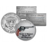 SMITH & WESSON MODEL 29 .44 MAGNUM Gun Firearm JFK Kennedy Half Dollar US Colorized Coin