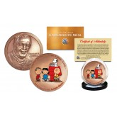 Colorized CHARLES M SCHULZ - Commemorative Congressional US Medal - PEANUTS Bronze US Coin - Snoopy Linus Lucy Charlie Brown