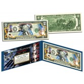 MAN IN SPACE - 50th Anniversary - Colorized Genuine Legal Tender U.S. $2 Bill NASA