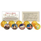 SPIRIT OF FREEDOM 1776 24K Gold Plated Genuine 1976 Bicentennial Colorized / Hologram Quarter 5-Coin Set