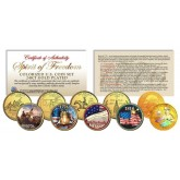 SPIRIT OF 1776 FREEDOM Patriotic Colorized U.S. Quarter 5-Coin Set 24K Gold Plated