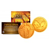 Original 1916-1930 STANDING LIBERTY Genuine SILVER Quarter U.S. Coin 24K GOLD Plated with Capsule & Certificate