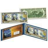 STARRY NIGHT by Vincent van Gogh - Famous Masterpieces - Genuine Legal Tender Colorized U.S. $2 Bill
