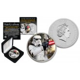 2018 NZM Niue 1 oz Pure Silver BU Star Wars STORMTROOPER Coin with ENDOR BATTLE Backdrop - Limited of 218