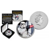 2018 NZM Niue 1 oz Pure Silver BU Star Wars STORMTROOPER Coin with DEATH STAR Backdrop - Limited of 218