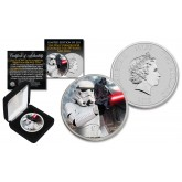 2018 NZM Niue 1 oz Pure Silver BU Star Wars STORMTROOPER Coin with DARTH VADER Backdrop - Limited of 218