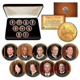 JUSTICES of the SUPREME COURT - Washington D.C. Quarters 24K Gold Plated 9-Coin Set with BOX