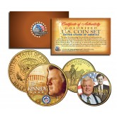 TED KENNEDY Massachusetts Quarter & JFK Half Dollar 2-Coin Set 24K Gold Plated