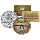 THOMPSON SUBMACHINE GUN - WWII Infantry Weapons - JFK Half Dollar U.S. Coin