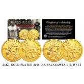2018 24K Gold Gilded P & D Mint Native American Sacagawea JIM THORPE $1 Dollar Coin Set