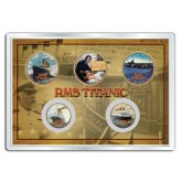 RMS TITANIC 100th Anniversary Legal Tender 24K Gold Plated US 5-Coin Set with 4x6 Display