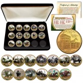 TRIPLE CROWN WINNERS Thoroughbred Horse Racing 24K Gold Plated Kentucky Statehood Quarter U.S. 13-Coin Set with Deluxe Display Box
