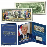 President DONALD TRUMP & VP MIKE PENCE OFFICIAL PORTRAITS Genuine U.S. $2 Bill with Donald Trump 8x10 Photo in Large Collectors Folio Display