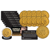 Donald Trump 2017 Inauguration 45th President of the United States Official 24K Gold Clad Tribute Coin (QTY: 10 Coins)