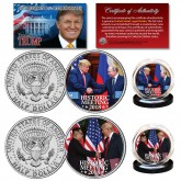 DONALD TRUMP Historic Meetings 2018 Vladimir Putin & Kim Jong-un Genuine JFK Kennedy U.S. Half Dollar 2-Coin Set