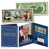 DONALD TRUMP 45th President of the United States Genuine U.S. $2 Bill with Donald Trump 8x10 Photo in Large Collectors Folio Display