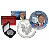 DONALD TRUMP 45th President of the United States 2016 1 oz PURE SILVER AMERICAN U.S. EAGLE in Deluxe Black Felt Coin Display Gift Box