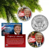 DONALD TRUMP Official XMAS JFK Half Dollar U.S. Coin in Christmas Ornament Capsule