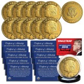 Donald Trump 2020 Keep America Great 45th President Official 24K Gold Clad Tribute Coin with Certificate, Coin Capsule and Display Stand (Lot of 10)