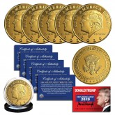 Donald Trump 2020 Keep America Great 45th President Official 24K Gold Clad Tribute Coin with Certificate, Coin Capsule and Display Stand (Lot of 5)