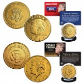 2017 & 2020 Donald Trump 45th President Official 24K Gold Clad Tribute Coins - SET of 2