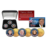 Donald Trump, Melania Trump & Mike Pence 3-Coin Colorized 24K Gold Plated Washington DC Quarter Set with Display Box