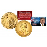 DONALD J. TRUMP Official 45th President Golden-Hue PRESIDENTIAL DOLLAR $1 U.S. Legal Tender Coin