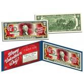 HAPPY VALENTINE'S DAY Keepsake Gift Colorized $2 Bill U.S. Genuine Legal Tender with Folio