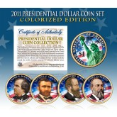 2011 Presidential $1 Dollar U.S. COLORIZED - Complete 4-Coin Set - with Capsules