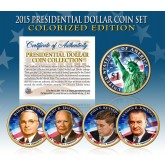 2015 Presidential $1 Dollar U.S. COLORIZED - Complete 4-Coin Set - with Capsules