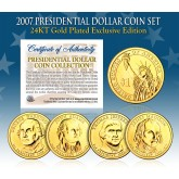 2007 Presidential $1 Dollar U.S. 24K GOLD PLATED - Complete 4-Coin Set - with Capsules