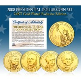 2008 Presidential $1 Dollar U.S. 24K GOLD PLATED - Complete 4-Coin Set - with Capsules