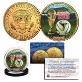 FRANCE 2018 FIFA WORLD CUP CHAMPIONS Soccer Football JFK Half Dollar US Coin 24K Gold Plated - RARE TEST ISSUE