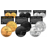 TRIBUTE 1943 World War II Steelie PENNY Coin - Get all 3 Plated Rare Metal Versions (Black Ruthenium, .999 Fine Silver, 24K Gold)