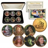WIZARD OF OZ Kansas US State Quarter 24K Gold Plated 6-Coin Set with Display BOX - Officially Licensed