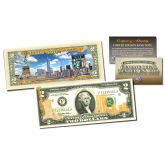 Official 9/11 WTC SKYLINE Duo Gold Leaf Front & Colorized Back Genuine Legal Tender U.S. $2 Bill 2-SIDED (SKYLINE)