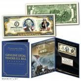 United States ARMY World War II WWII Vintage Genuine Legal Tender U.S. $2 Bill in Large Collectors Folio Display