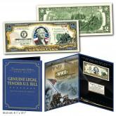United States MARINES World War II WWII Vintage Genuine Legal Tender U.S. $2 Bill in Large Collectors Folio Display