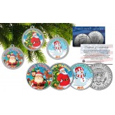 MERRY CHRISTMAS Colorized 2015 JFK Kennedy Half Dollar 3-Coin Set Ornaments Capsules - Snowman & Santa Claus