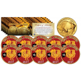 2017 Chinese New Year * YEAR OF THE ROOSTER * 24 Karat Gold Plated $50 American Gold Buffalo Indian Tribute Coin (LOT OF 10)