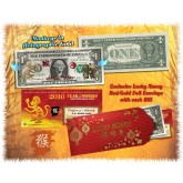 24KT GOLD 2016 Chinese New Year - YEAR OF THE MONKEY - Legal Tender U.S. $1 BILL - $1 Lucky Money