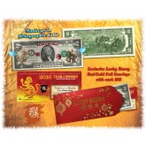 24KT GOLD 2016 Chinese New Year - YEAR OF THE MONKEY - Legal Tender U.S. $2 BILL - $2 Lucky Money