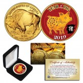 2019 Chinese New Year * YEAR OF THE PIG * 24 Karat Gold Plated $50 American Gold Buffalo Indian Tribute Coin with DELUXE BOX