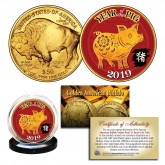 2019 Chinese New Year * YEAR OF THE PIG * 24 Karat Gold Plated $50 American Gold Buffalo Indian Tribute Coin
