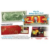 2019 Chinese New Year - YEAR OF THE PIG - Gold Hologram Red Lunar Legal Tender U.S. $2 BILL - $2 Lucky Money with Red Envelope ***SOLD OUT***